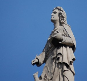 One of the Statues on top of the Holy Rosary Church in Little Italy