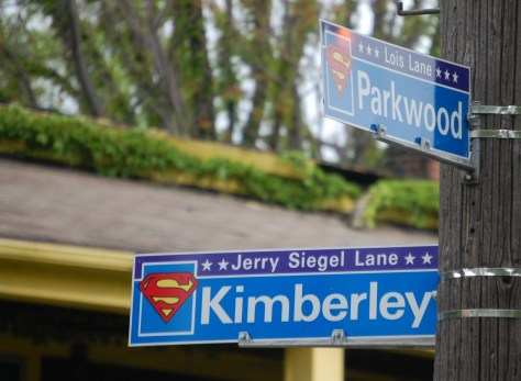 Superman Street signs at the corner of Kimberley and Parkwood in Cleveland - Jerry Siegel Lane and Lois Lane