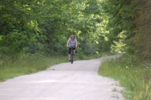 Julianne riding the Dawkins Line Trail in SE Kentucky