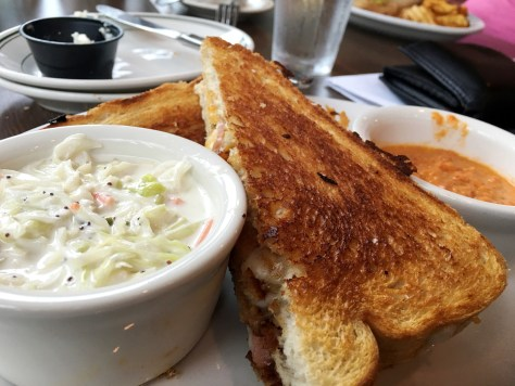 "David had a Reuben sandwich with three cheeses and their homemade ""Mill Slaw"". Their tomato dipping sauce was to die for"
