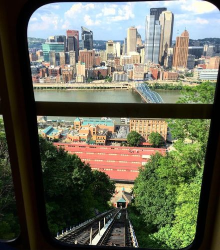 View of the city form the car on the Monongahela Incline