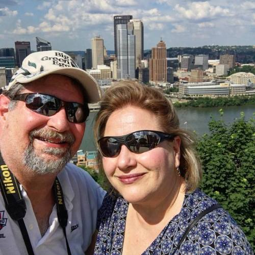 Overlooking Pittsburgh with wife Julianne