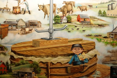 A large cheese mural located in Heini's Cheese Chalet - taken in July 2011