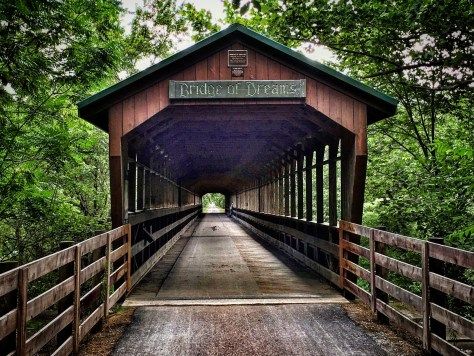 The 370 foot long Bridge of Dreams over the Mohican River near Brinkhaven.