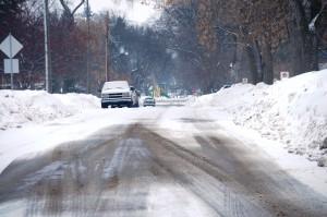 Snowy Road in Moorhead