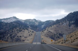 South on I-15 towards Tower Rock State Park