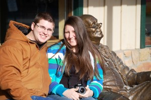 Natalie and Thomas with Benjamin Franklin in Jackson Hole