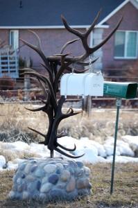 An elk horn mailbox in Thornton, ID