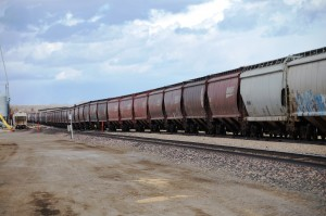 Long train running in Shelby, Montana
