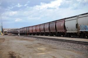 Long train running in Shelby, Montana