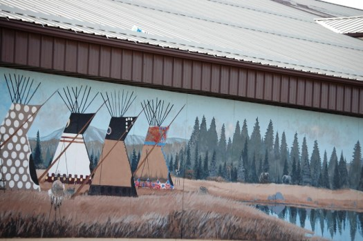 Murals on the side of a shop in Browning