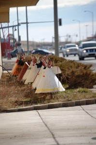 Metal Teepees in front of a shop in Browning