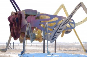 "Giant Grasshopper at Stop #3, ""Grasshoppers in the Field"""