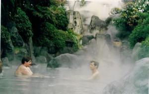 David enjoying a spa in Beppu