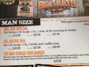 Big Jud's Menu