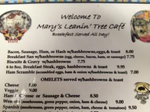 Leaning Tree Menu - lots of good breakfast