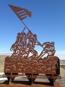 Iwo Jima Metal Art at Veteran's Memorial in Shelby, Montana.  This was made by local veteran John Alstad