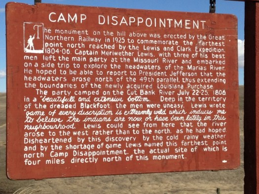 Camp Disappointment Historical Sign