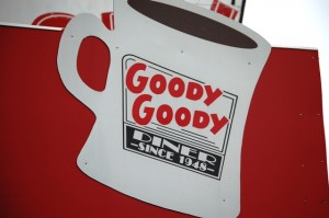 Giant Coffee Cup Sign at Goody Goody's