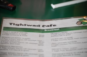 Tightwad Cafe Menu