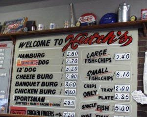 Hutch's Menu board
