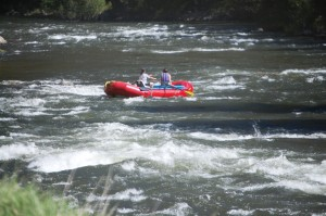 Some rafters enjoy the ride on the Salmon River