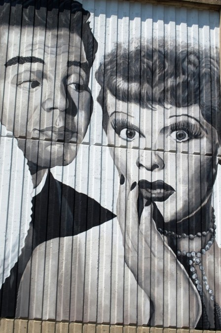 Big wall photo of Lucy and Desi in Jamestown, New York