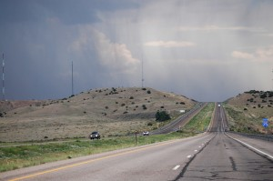 Rain in the distance heading south on I-25 from Walsenburg