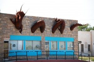 Another view of the dragon on a building in Clayton, New Mexico