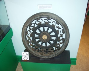 Old Wagon Wheel in the Building a City Gallery of Woodstock Museum