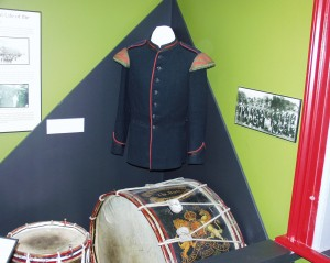 Relics in Oxford Rifle Museum - Militia Uniforms and drums from early 1800s - Woodstock Museum