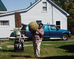 """JFK brings out """"Junior"""", his 40 pound twine ball"""