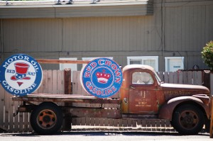 Old truck with old signs in Bellevue, Idaho