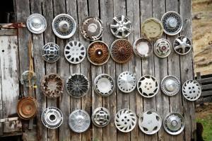 Closeup of hubcap barn in Central Kentucky