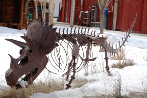 Small triceratops in someone's yard in Kelly, Wyoming, near Grand Tetons National Park