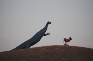 Scrap Metal Dinosaur chasing a ram - Glasgow, Montana