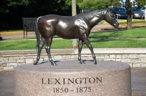 "Monument of a 1800s race horse and sire named ""Lexington"" at Thoroughbred Park"