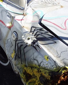 Close up of spider on Art Car at Melody Muffler in Walla Walla, Washington