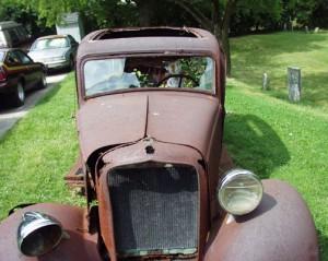 Old Car with mannikin in Fletcher, Ohio