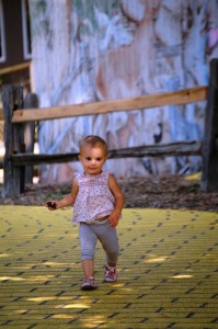 Granddaughter Lyla follows the Yellow Brick Road at Curtis Orchards
