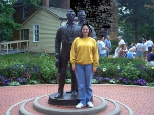 Amaree at the Joseph and Hyrum Smith statue in Carthage, IL
