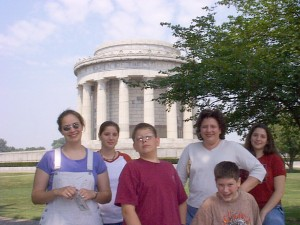 Family at the George Rogers Clark National Historic Park in Vincennes, Indiana Summer 2001