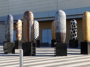 Jun Kaneko's Dangos at the Mid-America Center in Council Bluffs.