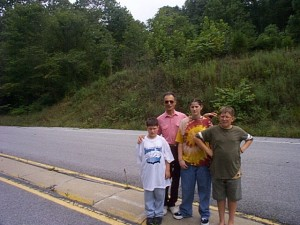 Kid s with Grandpa Kravetz at Cumberland Gap in 1996