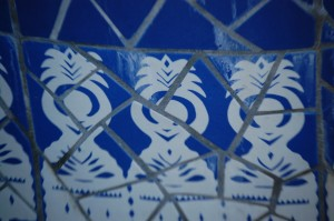 Tile work on a fountain in Little Mexico