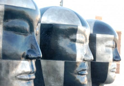 Jun Kaneko Bronze Heads at the Mid-American Center