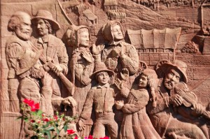 Pioneer Relief Sculpture at Council Bluffs Library