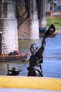 Lewis and Clark wave to us from the River as we passed by