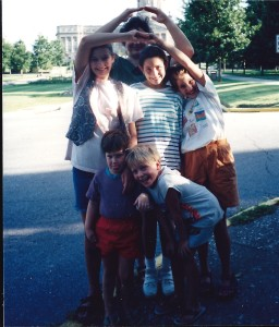 Family in Frankfort, Kentucky with the State Capital Building, July 1993