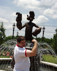 Solomon with Popeye in Alma, Arkansas - home of Popeye brand Spinach June 2007